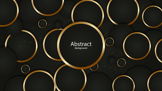 Abstract gold rings on black background