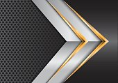 Abstract gold silver arrow on gray metal circle mesh design modern luxury background vector illustration.
