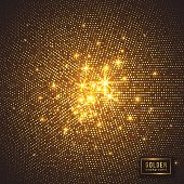Abstract golden background. Halftone glitter effect with dot and glowing lights. Vector illustration.