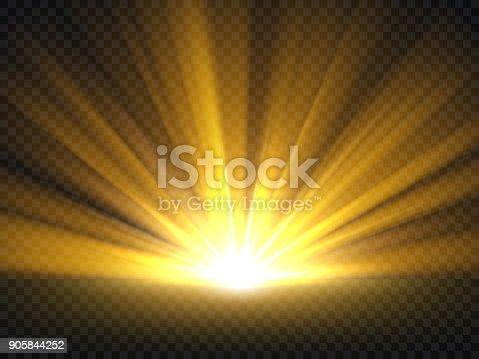 Abstract golden bright light. Gold shine burst vector illustration isolated. Bright and shine golden light star