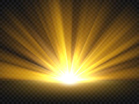 Abstract golden bright light. Gold shine burst vector illustration isolated