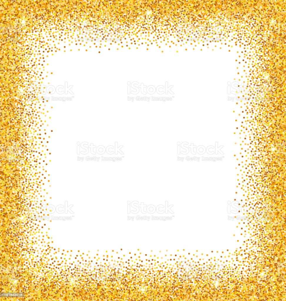 Abstract Golden Frame With Sparkles On White Background Stock Vector ...