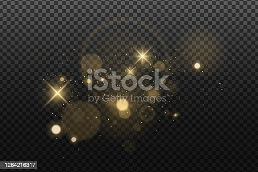 istock Abstract golden lights bokeh isolated on a dark transparent background. Shining stars and glare. Footage for your design. Realistic brilliant glitter. Vector illustration. 1264216317