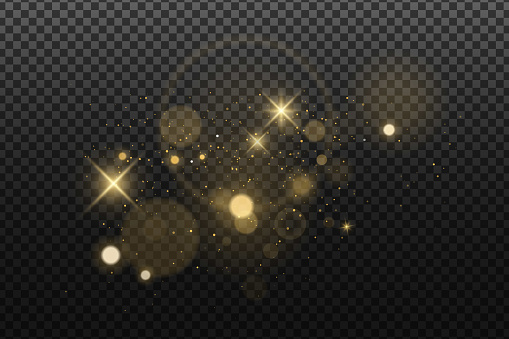 Abstract golden lights bokeh isolated on a dark transparent background. Shining stars and glare. Footage for your design. Realistic brilliant glitter. Vector illustration. EPS 10.