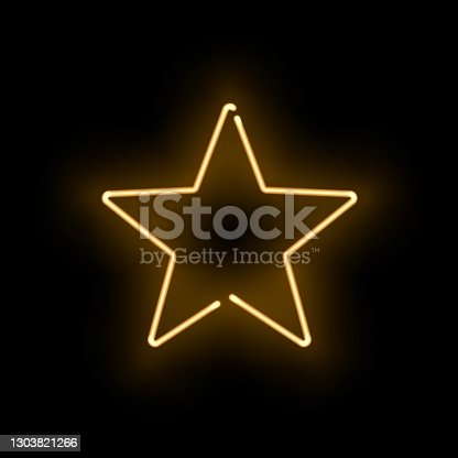 istock Abstract golden neon luminous star on black background. Glowing yellow discontinuous object with soft light effect. Vector illustration of shining frame, template for nightclub party design. 1303821266