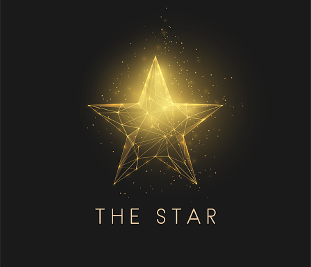 Abstract golden star. Low poly style design