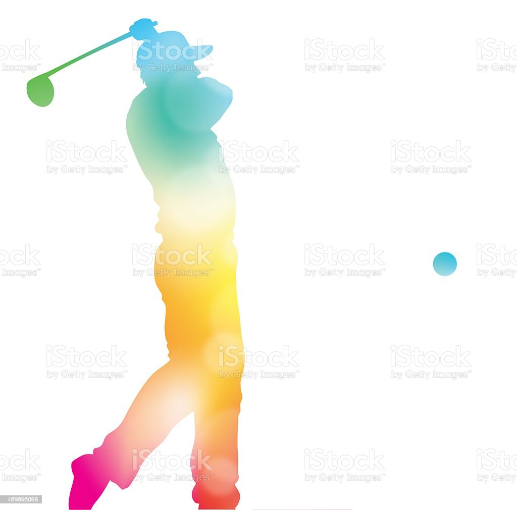 Abstract Golf Player Driving in Beautiful Summer Haze. vector art illustration