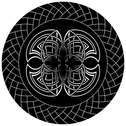 abstract gothic illustration with celtic symbol in knotted circle