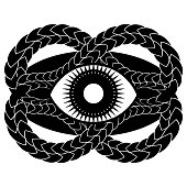 abstract gothic illustration with eye in black oval framed by entwined snake skin