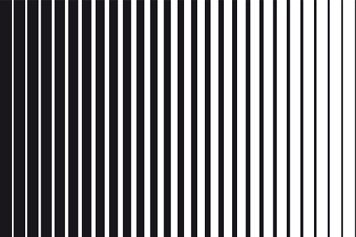 Abstract gradient background of black and white parallel vertical lines clipart