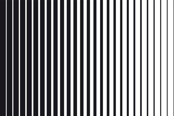abstrakcyjne tło gradientu czarno-białych równoległych linii pionowych - linia stock illustrations