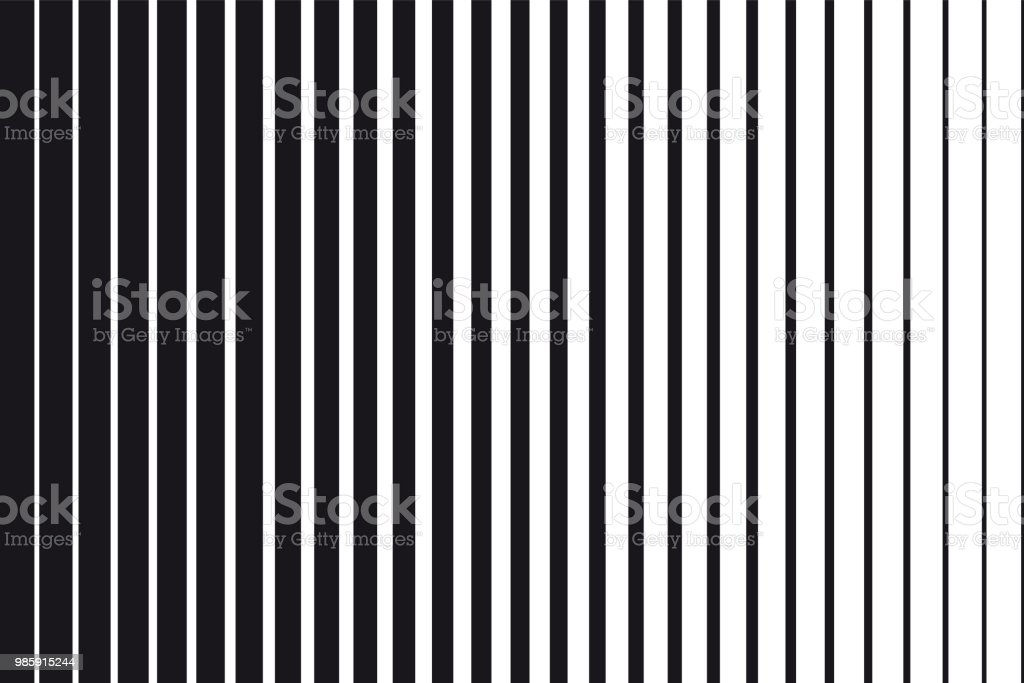 Abstract gradient background of black and white parallel vertical lines vector art illustration