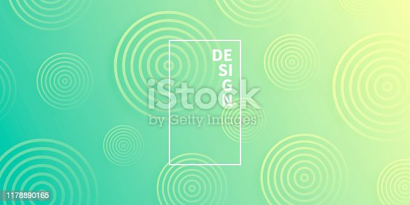 Modern and trendy abstract background with gradient color cirlces, looking like targets. This illustration can be used for your design, with space for your text (colors used: Orange, Yellow, Green, Blue). Vector Illustration (EPS10, well layered and grouped), wide format (2:1). Easy to edit, manipulate, resize or colorize.