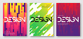 Abstract gradient geometric cover designs, brochure templates, posters. Vector illustration. Global swatches