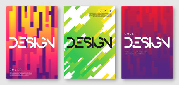 abstract gradient geometric cover designs - poster stock illustrations