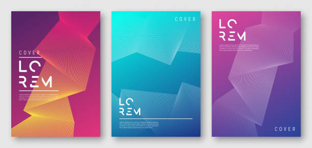 abstract gradient geometric cover designs - digitally generated image stock illustrations, clip art, cartoons, & icons