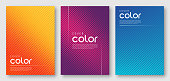 Abstract gradient geometric cover designs, trendy brochure templates, colorful minimalist posters. Vector illustration. Global swatches.