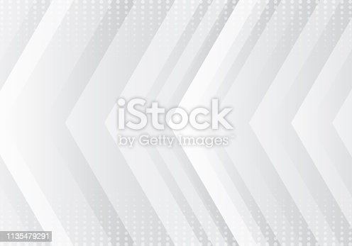 Abstract gradient gray and white arrows pattern technology futuristic concept background with halftone texture