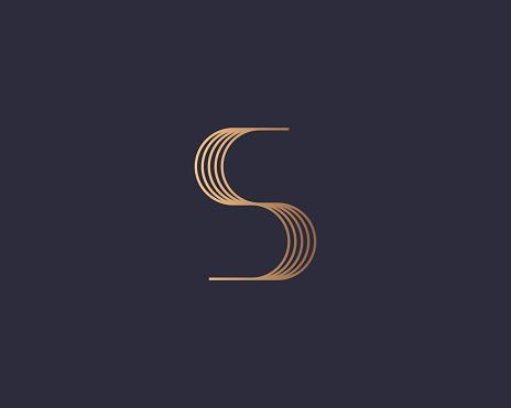 Abstract gradient linear monogram letter S logo icon design modern minimal style illustration. Premium alphabet vector line emblem sign symbol mark logotype