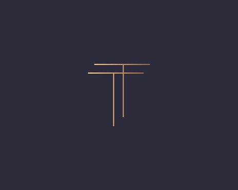 Abstract gradient linear monogram letter T logo icon design modern minimal style illustration. Premium alphabet vector line emblem sign symbol mark logotype