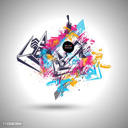 Modern geometric background, graffiti poster design, colorful design template - eps 10
