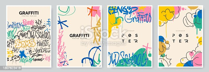 istock Abstract graffiti poster with colorful tags, paint splashes, scribbles and throw up pieces. Street art background collection. Artistic covers set in hand drawn graffiti style. Vector illustration 1307623418