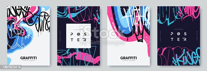 istock Abstract graffiti poster with colorful tags, paint splashes, scribbles and throw up pieces. Street art background collection. Artistic covers set in hand drawn graffiti style. Vector illustration 1307623419