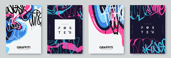 Abstract graffiti poster with colorful tags, paint splashes, scribbles and throw up pieces. Street art background collection. Artistic covers set in hand drawn graffiti style. Vector illustration