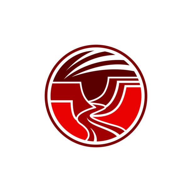 abstrakte grand canyon coporate symbol - canyon stock-grafiken, -clipart, -cartoons und -symbole