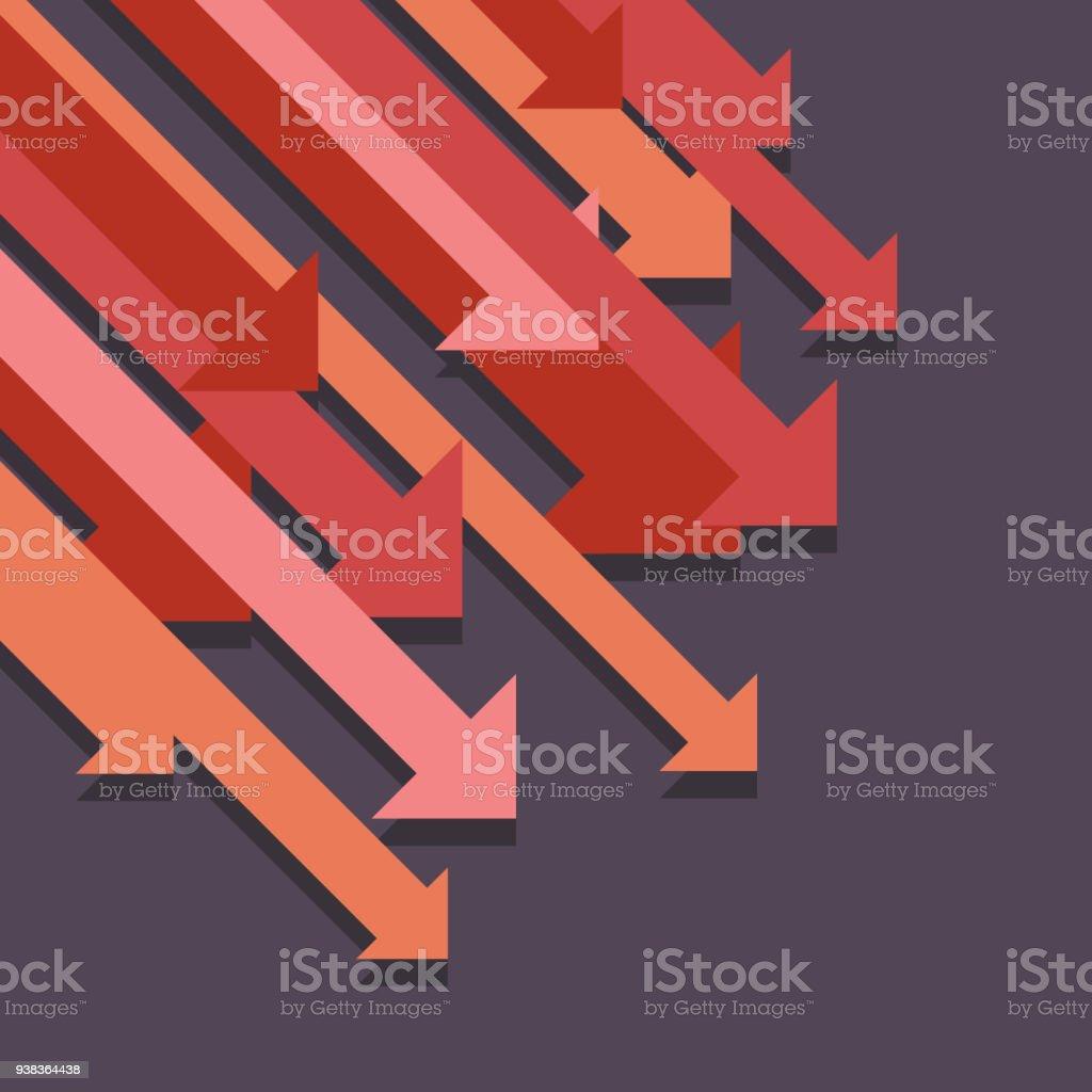Abstract graph down arrows vector art illustration