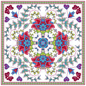 Abstract graphic background, square pattern with fantasy flowers geometric ornament. Bandanna shawl fabric print, silk neck scarf or kerchief design, vector illustration. Red blue green on white