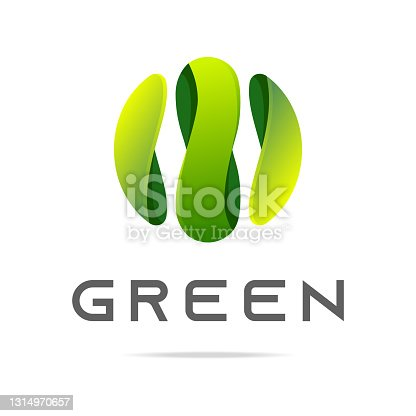 istock Abstract graphic green global icon with wavy lines background in sphere business company logo.Design template nature icon,eco bio technology sign,organic symbol,natural cosmetics,vegan food,medical,healthcare.Vector 1314970657