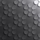 Modern and trendy abstract background. Seamless texture with flower patterns for your design (colors used: black, gray, white). Vector Illustration (EPS10, well layered and grouped), format (1:1). Easy to edit, manipulate, resize or colorize.