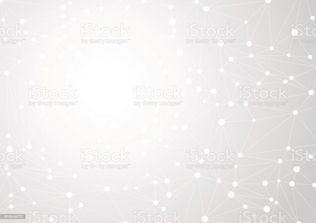 Abstract gray background with chaos of connected lines and dots. Vector illustration vector art illustration