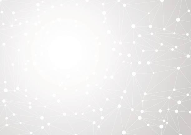 接続された直線とドットのカオスと抽象的な灰色の背景。ベクトル図 ベクターアートイラスト