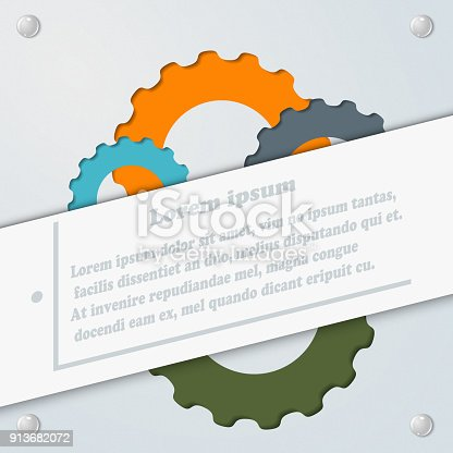 istock Abstract gray background with the gears. Template for infographics. Vector illustration 913682072