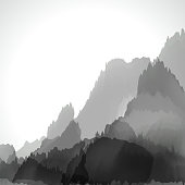 abstract gray chinese painting pattern background for design.(ai eps10 with transparency effect)