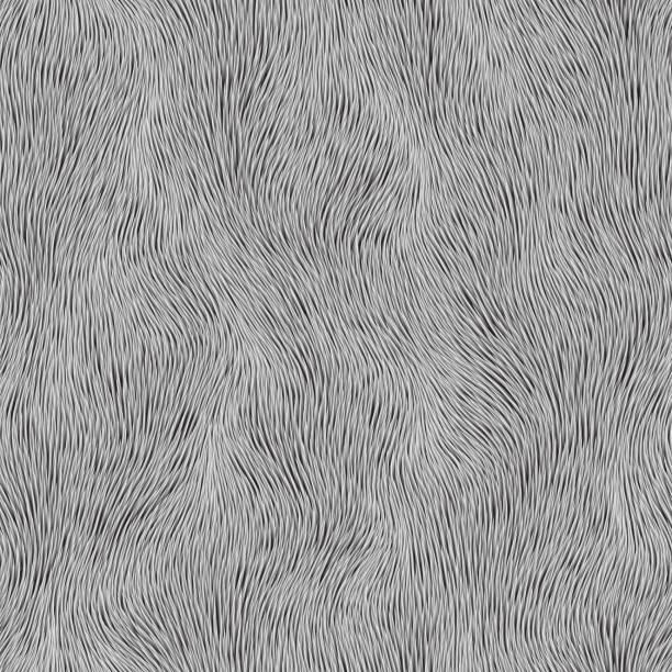 stockillustraties, clipart, cartoons en iconen met abstract grijs bontpatroon. vector naadloze achtergrond - dierenhaar
