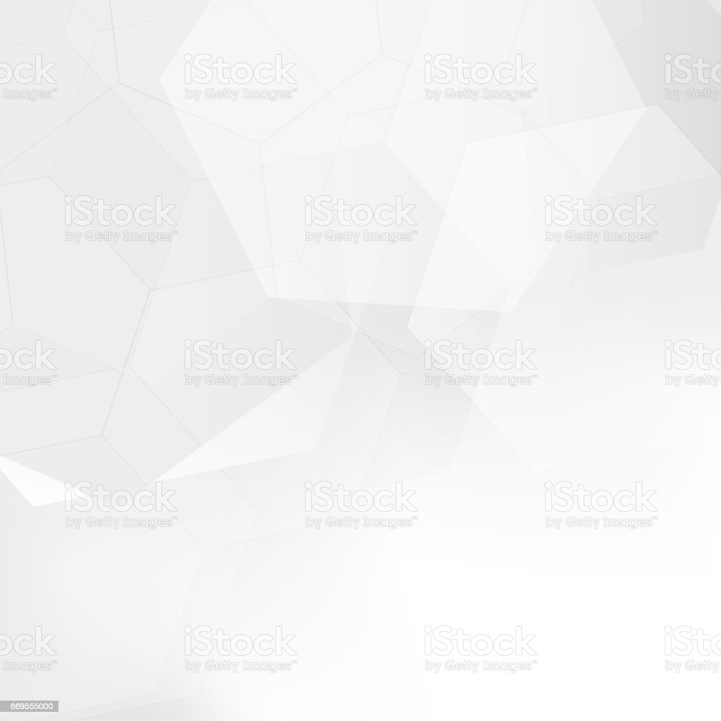 Abstract gray gradient hexagon on white background with soft light blur. Vector illustration vector art illustration