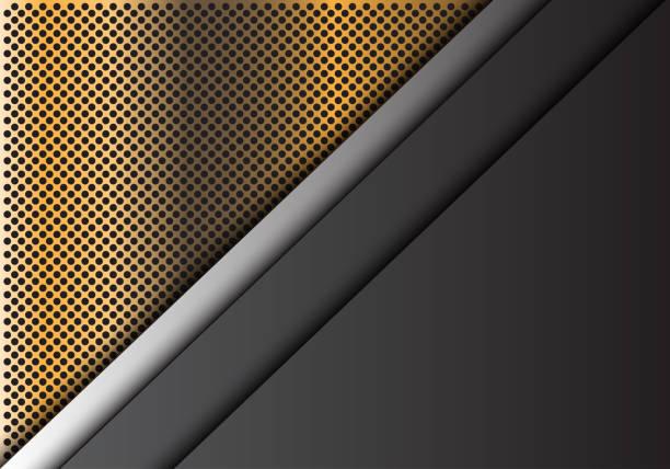 abstrakt grau metall überlappung auf goldener kreis netz muster design moderner luxus futuristische hintergrund vektor-illustration. - edelrost stock-grafiken, -clipart, -cartoons und -symbole