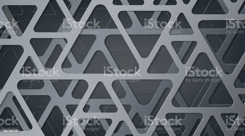 Abstract gray metallic background. Interlacing of geometric figures. Triangles with rounded corners. Shadow and glow. The effect of cut paper. Template for websites, brochures, posters. royalty-free abstract gray metallic background interlacing of geometric figures triangles with rounded corners shadow and glow the effect of cut paper template for websites brochures posters stock vector art & more images of abstract
