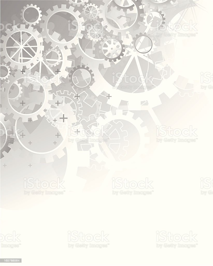 Abstract gray technical background - gears vector art illustration