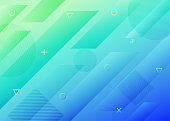 abstract green and blue gradient blue geometric background.