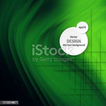 Abstract Green Background Template Vector, Green Background with Beautiful Wave Design