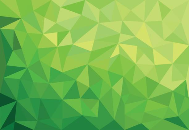 abstract green background with triangles Green abstract geometrical spring background with triangles two dimensional shape stock illustrations