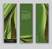 Abstract Green Banners. Vector Backgrounds.