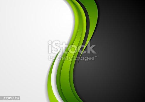 istock Abstract green black grey wavy background 622059224