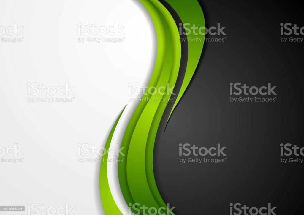 Abstract green black grey wavy background vector art illustration