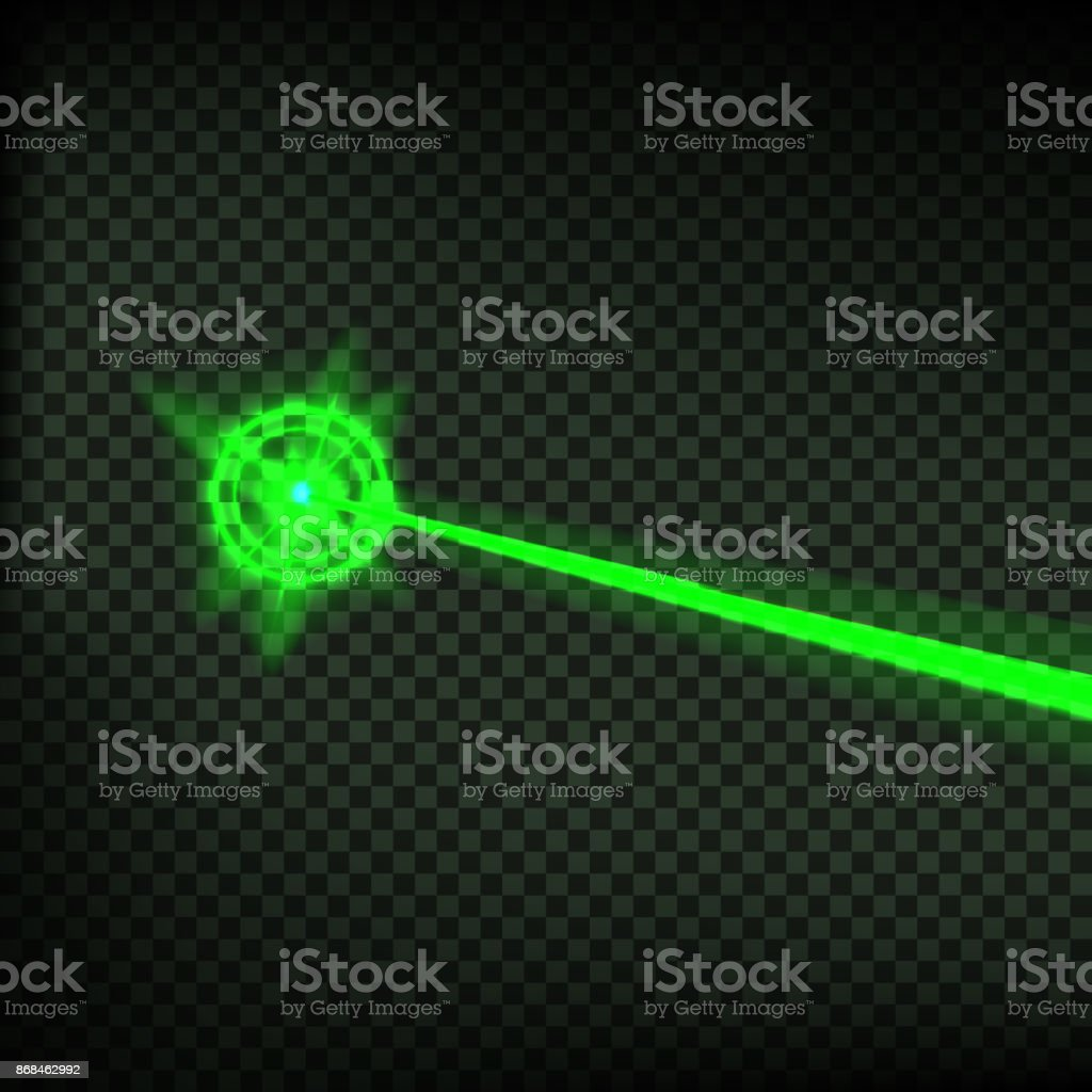 Abstract green laser beam. Laser security beam isolated on transparent background. Light ray with glow target flash. Vector illustration. vector art illustration
