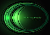 Abstract green light ellipse curve overlap on black design modern luxury futuristic technology background vector illustration.
